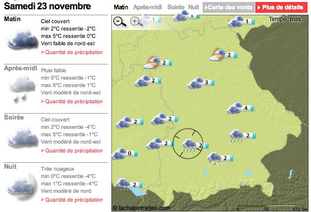 La météo du samedi 23 Novembre